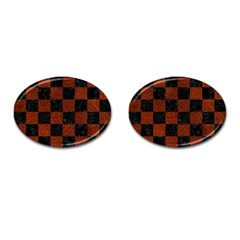 Square1 Black Marble & Reddish Brown Leather Cufflinks (oval) by trendistuff
