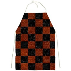 Square1 Black Marble & Reddish Brown Leather Full Print Aprons by trendistuff