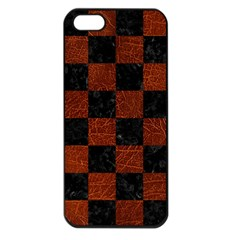 Square1 Black Marble & Reddish Brown Leather Apple Iphone 5 Seamless Case (black) by trendistuff