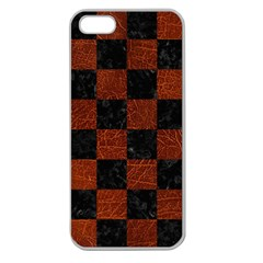 Square1 Black Marble & Reddish Brown Leather Apple Seamless Iphone 5 Case (clear) by trendistuff