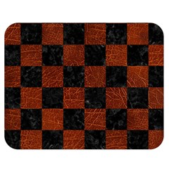 Square1 Black Marble & Reddish Brown Leather Double Sided Flano Blanket (medium)  by trendistuff