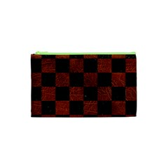 Square1 Black Marble & Reddish Brown Leather Cosmetic Bag (xs) by trendistuff