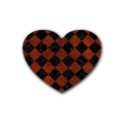 Square2 Black Marble & Reddish Brown Leather Heart Coaster (4 Pack)  by trendistuff