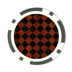 Square2 Black Marble & Reddish Brown Leather Poker Chip Card Guard (10 Pack) by trendistuff