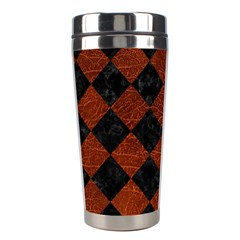 Square2 Black Marble & Reddish Brown Leather Stainless Steel Travel Tumblers by trendistuff