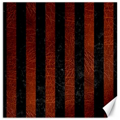 Stripes1 Black Marble & Reddish Brown Leather Canvas 16  X 16   by trendistuff