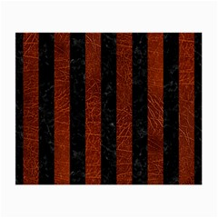 Stripes1 Black Marble & Reddish Brown Leather Small Glasses Cloth (2 Side)