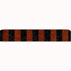 Stripes1 Black Marble & Reddish Brown Leather Small Bar Mats by trendistuff