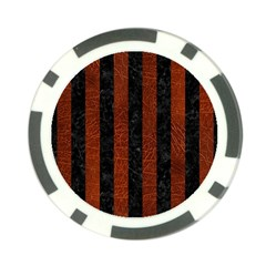 Stripes1 Black Marble & Reddish Brown Leather Poker Chip Card Guard by trendistuff