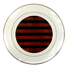Stripes2 Black Marble & Reddish Brown Leather Porcelain Plates by trendistuff