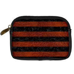 Stripes2 Black Marble & Reddish Brown Leather Digital Camera Cases by trendistuff