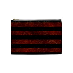 Stripes2 Black Marble & Reddish Brown Leather Cosmetic Bag (medium)  by trendistuff