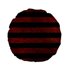 Stripes2 Black Marble & Reddish Brown Leather Standard 15  Premium Round Cushions by trendistuff