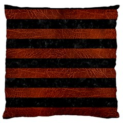 Stripes2 Black Marble & Reddish Brown Leather Standard Flano Cushion Case (one Side) by trendistuff