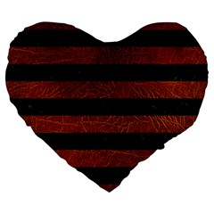Stripes2 Black Marble & Reddish Brown Leather Large 19  Premium Flano Heart Shape Cushions by trendistuff
