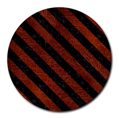 Stripes3 Black Marble & Reddish Brown Leather Round Mousepads by trendistuff