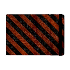 Stripes3 Black Marble & Reddish Brown Leather Apple Ipad Mini Flip Case by trendistuff