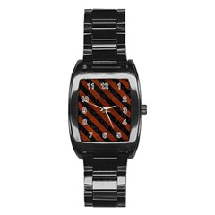 Stripes3 Black Marble & Reddish Brown Leather Stainless Steel Barrel Watch by trendistuff
