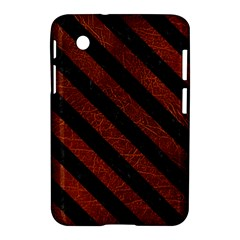 Stripes3 Black Marble & Reddish Brown Leather Samsung Galaxy Tab 2 (7 ) P3100 Hardshell Case  by trendistuff