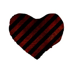 Stripes3 Black Marble & Reddish Brown Leather (r) Standard 16  Premium Flano Heart Shape Cushions by trendistuff