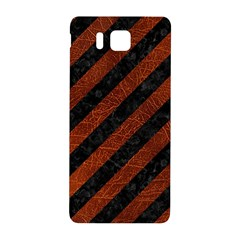 Stripes3 Black Marble & Reddish Brown Leather (r) Samsung Galaxy Alpha Hardshell Back Case by trendistuff