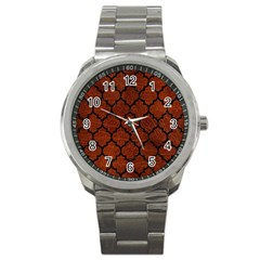 Tile1 Black Marble & Reddish Brown Leather Sport Metal Watch by trendistuff