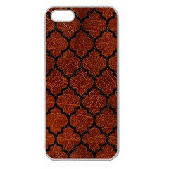 Tile1 Black Marble & Reddish Brown Leather Apple Seamless Iphone 5 Case (clear) by trendistuff