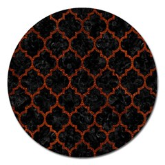 Tile1 Black Marble & Reddish Brown Leather (r) Magnet 5  (round)
