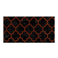 Tile1 Black Marble & Reddish Brown Leather (r) Satin Wrap by trendistuff