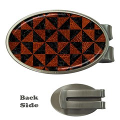 Triangle1 Black Marble & Reddish Brown Leather Money Clips (oval)  by trendistuff
