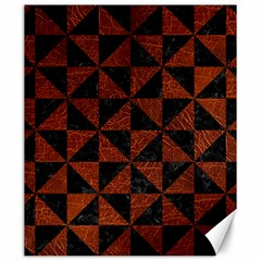 Triangle1 Black Marble & Reddish Brown Leather Canvas 20  X 24   by trendistuff