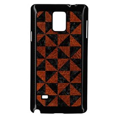 Triangle1 Black Marble & Reddish Brown Leather Samsung Galaxy Note 4 Case (black) by trendistuff