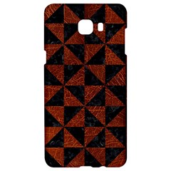 Triangle1 Black Marble & Reddish Brown Leather Samsung C9 Pro Hardshell Case
