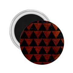 Triangle2 Black Marble & Reddish Brown Leather 2 25  Magnets by trendistuff