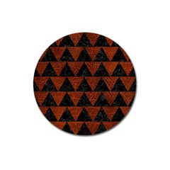 Triangle2 Black Marble & Reddish Brown Leather Magnet 3  (round)