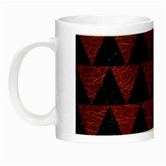 Triangle2 Black Marble & Reddish Brown Leather Night Luminous Mugs by trendistuff