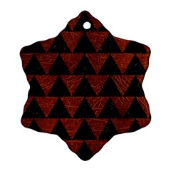 Triangle2 Black Marble & Reddish Brown Leather Snowflake Ornament (two Sides) by trendistuff