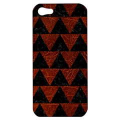 Triangle2 Black Marble & Reddish Brown Leather Apple Iphone 5 Hardshell Case