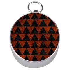 Triangle2 Black Marble & Reddish Brown Leather Silver Compasses by trendistuff