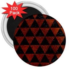 Triangle3 Black Marble & Reddish Brown Leather 3  Magnets (100 Pack)