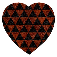 Triangle3 Black Marble & Reddish Brown Leather Jigsaw Puzzle (heart) by trendistuff
