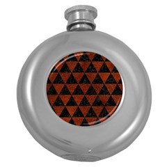 Triangle3 Black Marble & Reddish Brown Leather Round Hip Flask (5 Oz) by trendistuff