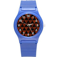 Triangle3 Black Marble & Reddish Brown Leather Round Plastic Sport Watch (s) by trendistuff