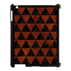 Triangle3 Black Marble & Reddish Brown Leather Apple Ipad 3/4 Case (black) by trendistuff