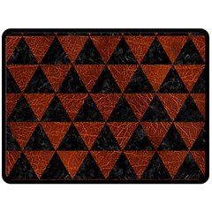 Triangle3 Black Marble & Reddish Brown Leather Double Sided Fleece Blanket (large)  by trendistuff