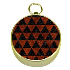 Triangle3 Black Marble & Reddish Brown Leather Gold Compasses by trendistuff