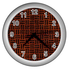 Woven1 Black Marble & Reddish Brown Leather Wall Clocks (silver)  by trendistuff