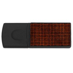 Woven1 Black Marble & Reddish Brown Leather Rectangular Usb Flash Drive by trendistuff