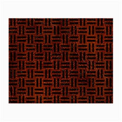 Woven1 Black Marble & Reddish Brown Leather Small Glasses Cloth (2 Side) by trendistuff