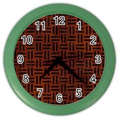 Woven1 Black Marble & Reddish Brown Leather Color Wall Clocks by trendistuff